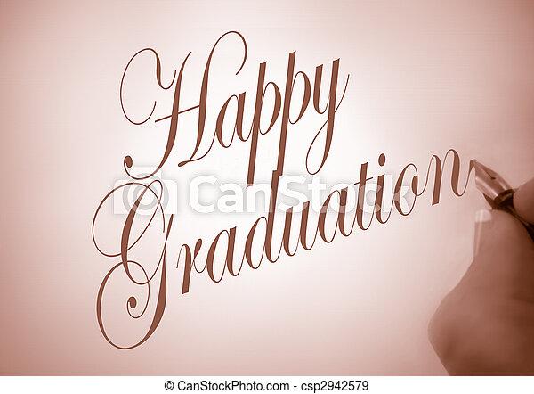 callligraphy, graduazione, felice - csp2942579