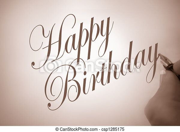 Callligraphy happy birthday illustration of person writing