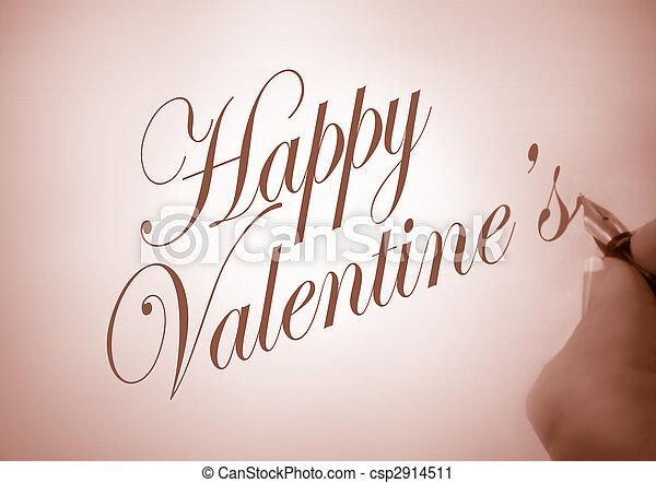 callligraphy happy Valentine - csp2914511