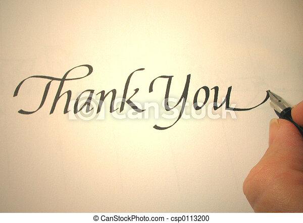 callligraphy, lei, ringraziare - csp0113200