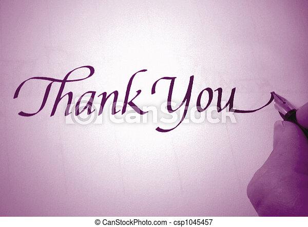 callligraphy thank you - csp1045457