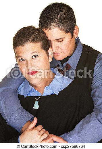 Mature lesbian cuddling