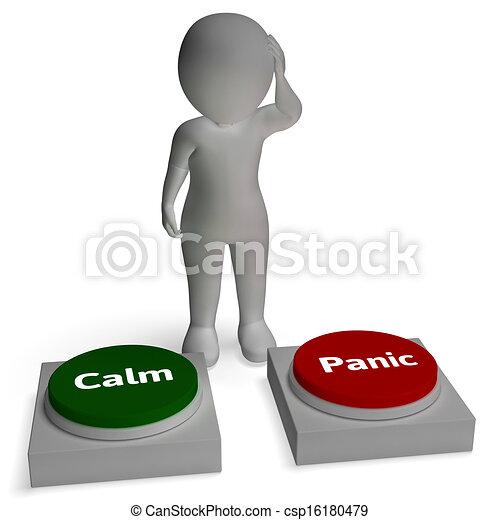 Calm Panic Buttons Show Panicking Or Calmness - csp16180479