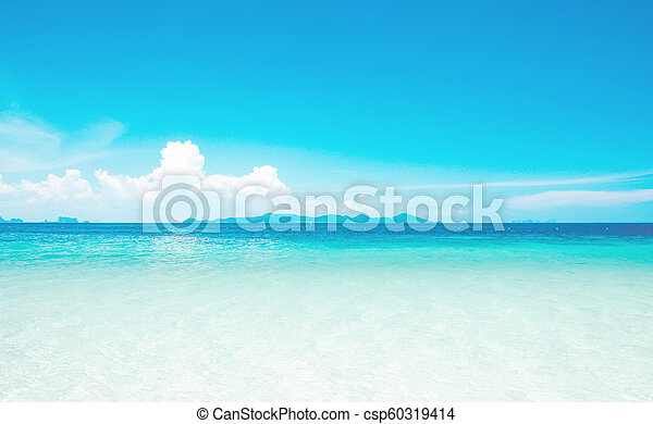 Calm Sea Ocean And Blue Sky Background - csp60319414