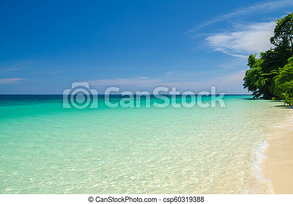 Calm Sea Ocean And Blue Sky Background - csp60319388