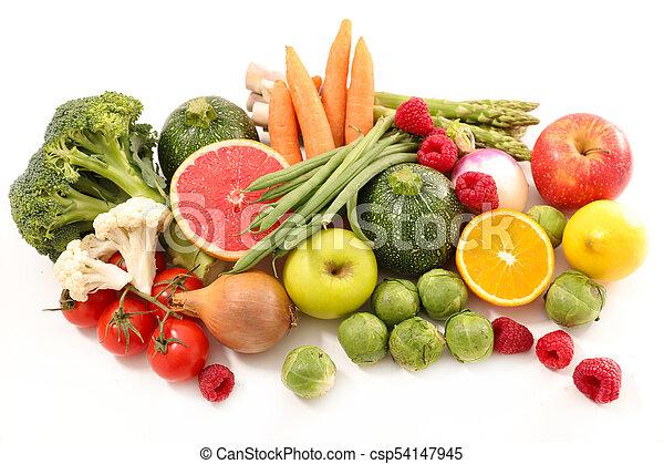 caloria, conceito, vegetal, fruta, baixo - csp54147945