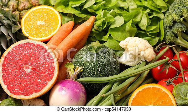 caloria, fruta, vegetal, baixo - csp54147930