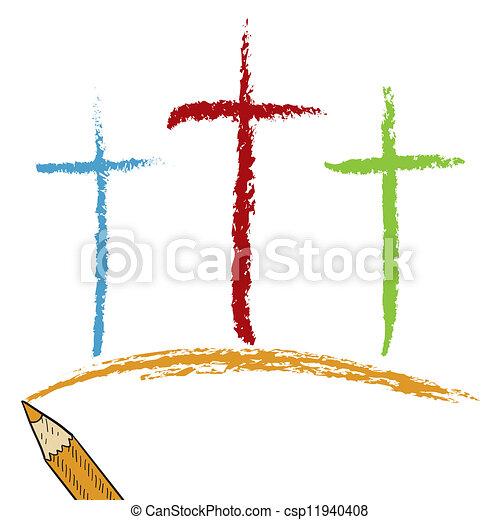 Calvary crosses colored pencil - csp11940408