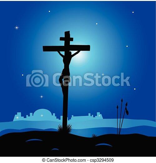 Calvary - crucifixion scene with Jesus Christ on cross - csp3294509
