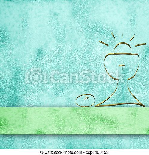 calyx parchment background for first communion boy - csp8400453