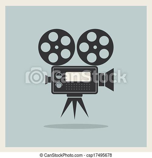 caméra, vidéo, retro, fond - csp17495678