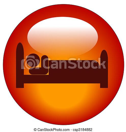 Un icono rojo de la persona tumbada en la cama - csp3184882