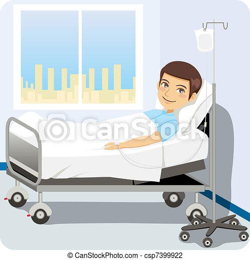 Hombre en la cama del hospital - csp7399922