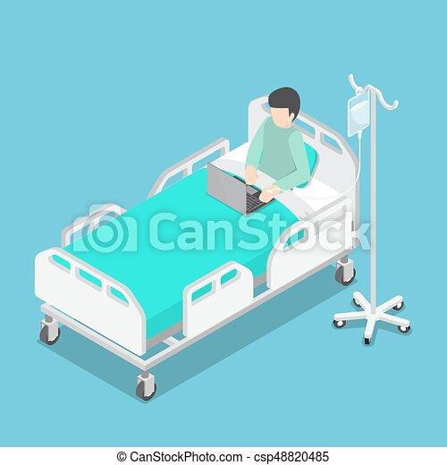 Gr fico vectorial de cama hombre de negocios isom trico for Cama 3d dibujo