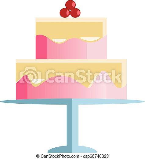 camada, cor, cereja, dois, ilustração, decoração, vetorial, bolo, ou, celebração - csp68740323