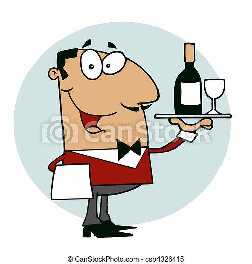 Feliz camarero hispano - csp4326415