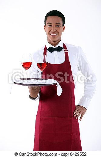 camarero, porción, dos, anteojos, vino - csp10429552