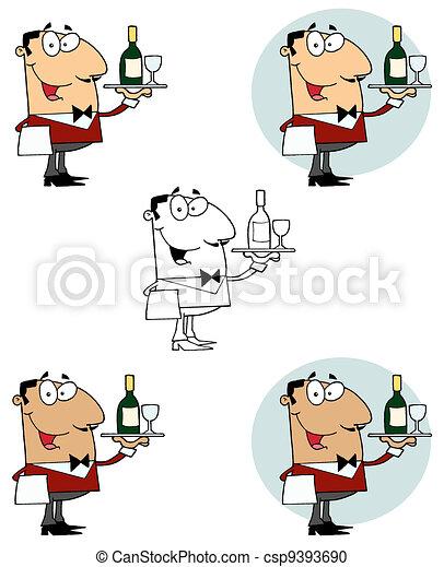 Camarero sirviendo vino - csp9393690