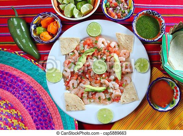camaron shrimp ceviche raw seafood salad Mexico - csp5889663