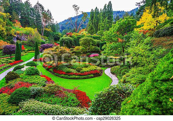 Los caminos andantes y las camas de flores - csp29026325