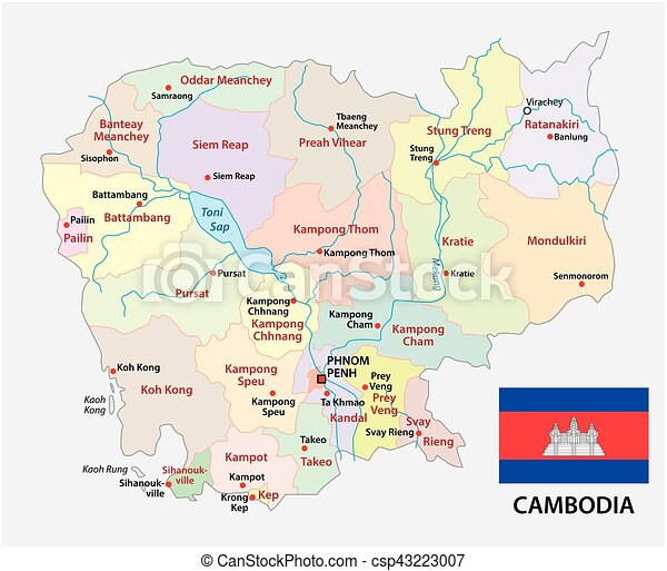 Cambodia administrative and political map with flag vector clipart