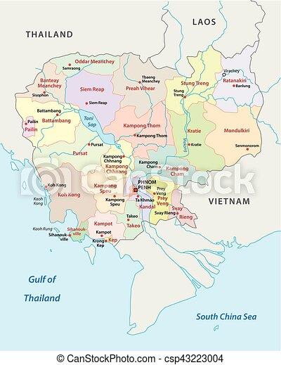 Cambodia administrative map Cambodia administrative and vector