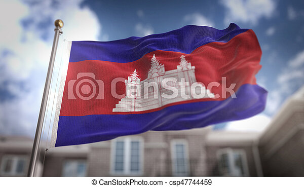 Cambodia Flag 3D Rendering on Blue Sky Building Background - csp47744459