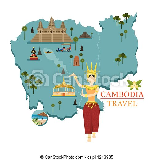 Cambodia Map And Landmarks With Apsara Dancer Culture Vectors - Cambodia map