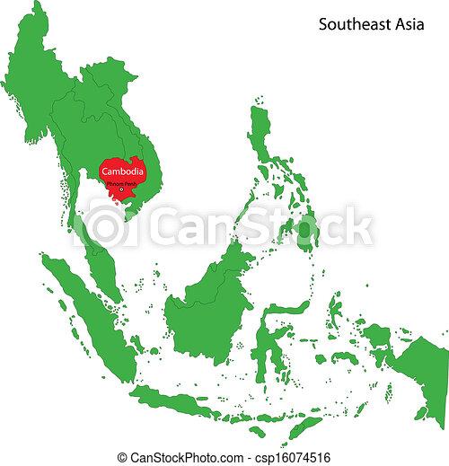 Cambodia map. Location of cambodia on southeast asia.