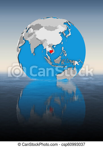 Cambodia on globe in water - csp60993037