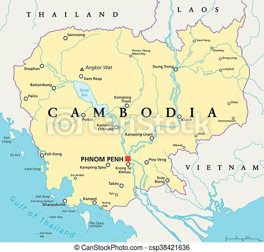 Cambodia political map with capital phnom penh national vectors