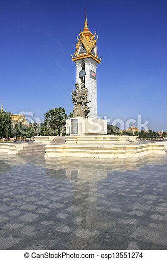 Cambodia-Vietnam Friendship Monument, Phnom Penh, Cambodia - csp13551274