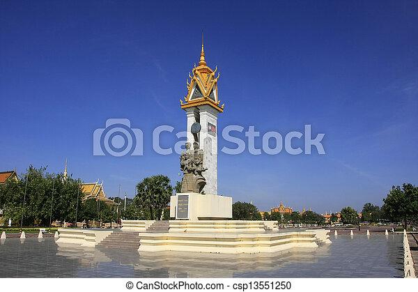 Cambodia-Vietnam Friendship Monument, Phnom Penh, Cambodia - csp13551250