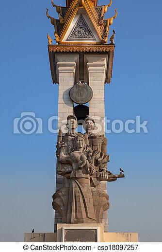Cambodia-Vietnam Friendship Monument, Phnom Penh, Cambodia. - csp18097257