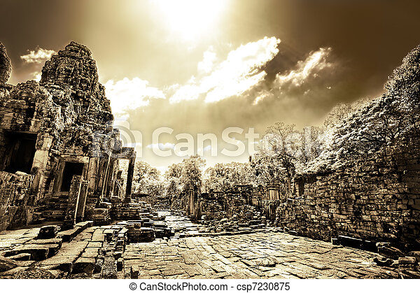 Cambodian temple ruins in monochrome - csp7230875