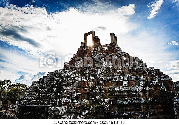 Cambodian temple ruins - csp34613113