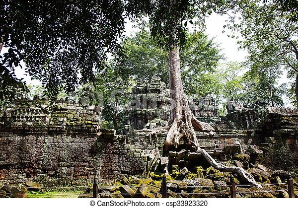 Cambodian temple ruins - csp33923320