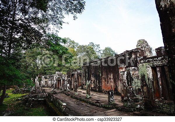 Cambodian temple ruins - csp33923327