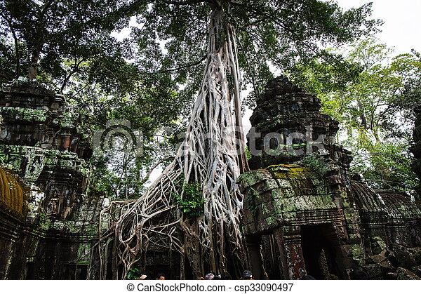 Cambodian temple ruins - csp33090497