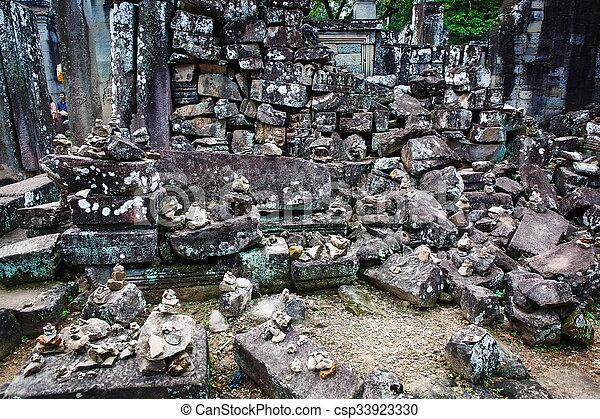 Cambodian temple ruins - csp33923330