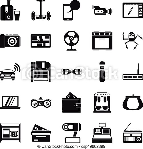 Camcorder buying icons set, simple style - csp49882399
