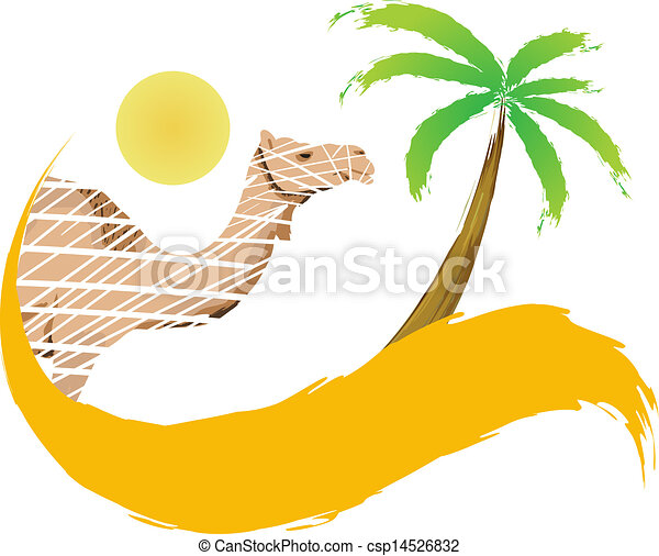 Camel and palm tree in the desert, vector - csp14526832