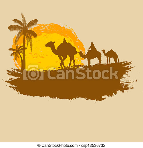 Camel and palms on grunge background - csp12536732