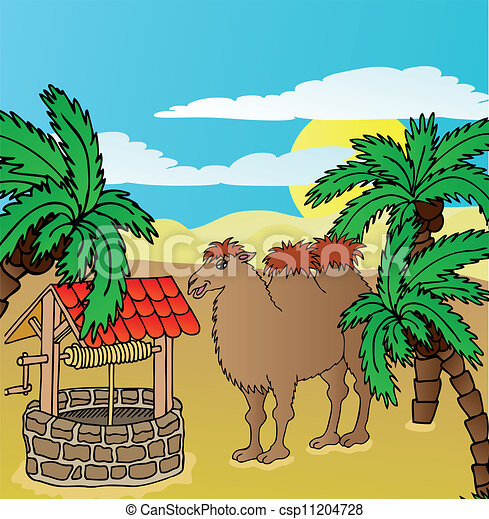 camel and well  vector illustration