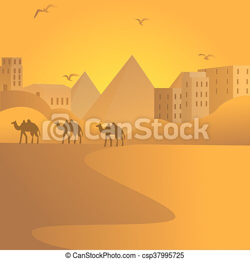 camel caravan travel in desert with pyramids of Egypt at background Arab building - csp37995725