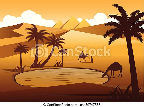 Camel drink water in oasis desert nearby Pyramids,silhouette design