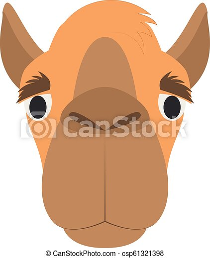 Camel face in cartoon style for children  Animal Faces Vector illustration  Series