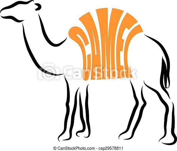 CAMEL ILLUSTRATION LETTERING - csp29578811