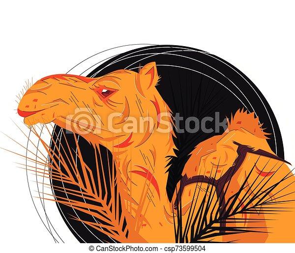 Camel portrait Vector Flat illustration. - csp73599504