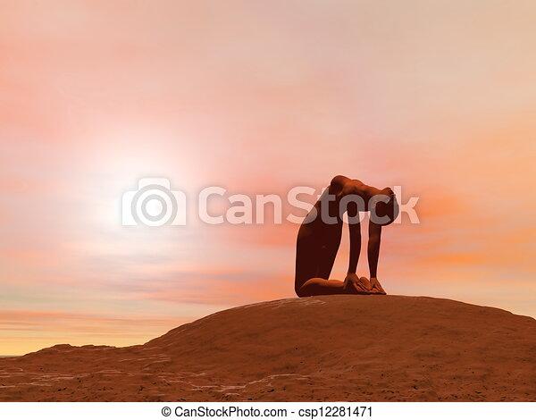 camel pose ustrasana  3d render young woman doing camel